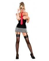 Disfraz de secretaria: Falda con portaligas, blusa y corbata.