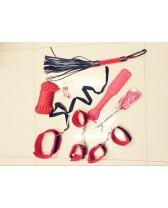 Set sado bondage de cuero sintético de 8 piezas Red Jail