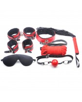 Set sado de esclavitud 7 piezas Red & Black Color SM Kit