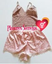 Pijama sexy de top de encage y short de seda Seducción 4