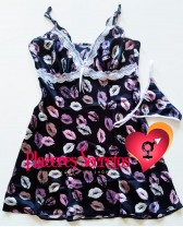 Camisón o vestido estampado con tanga a juego Dulzura 2