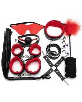 Set sado BDSM de 10 piezas de color rojo con negro
