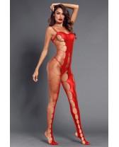 Bodystocking, catsuit o enterizo de red Rojo pasión